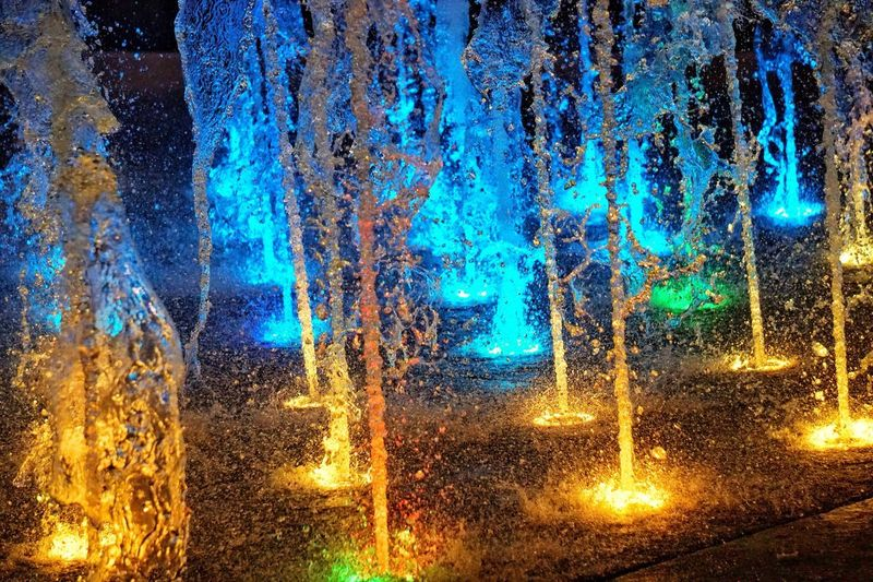 Fountain Fun Fountain Lights Fountain Of Light Full Frame Backgrounds Wet Illuminated Glass - Material No People Transportation Water Night Abstract Multi Colored Pattern
