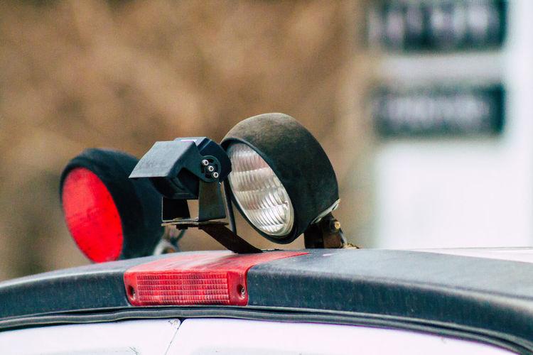 Close-up of headlights on ambulance