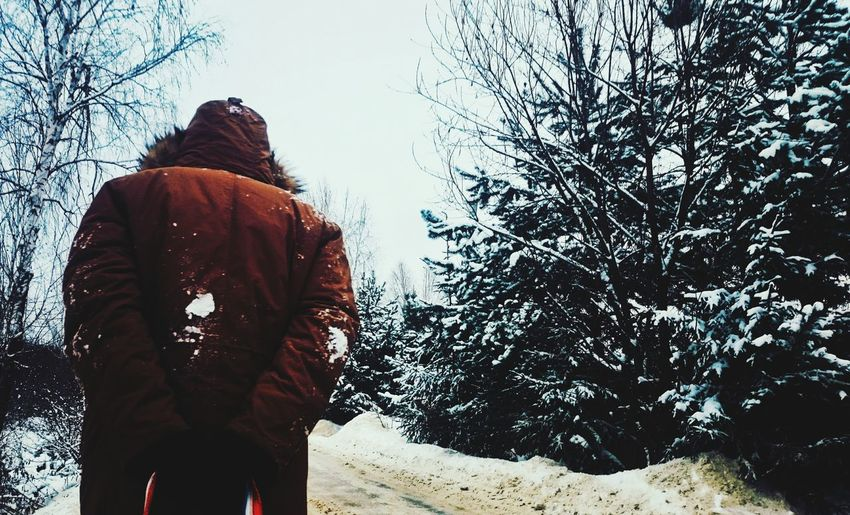 Rear view of person standing in snow