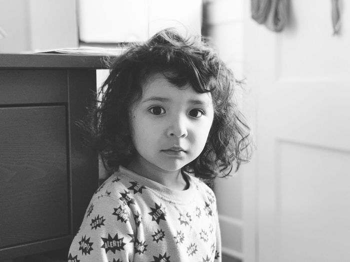 Portrait of cute girl at home