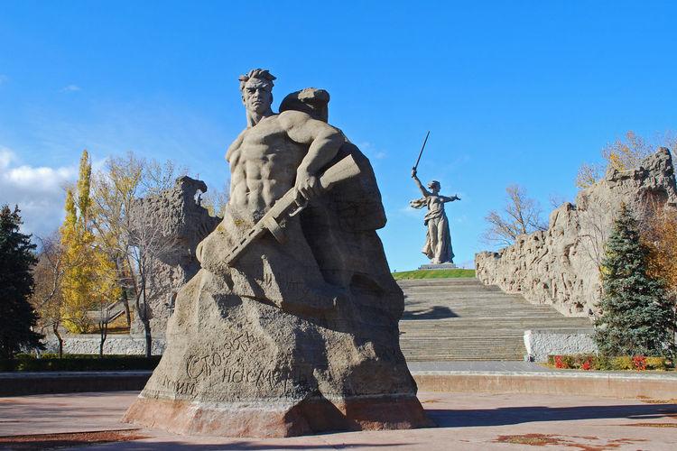 Sculptures At Mamayev Kurgan Park Against Sky