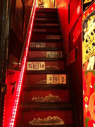 Upstair bar in Golden Gai Japan Photography Tokyo Art is Everywhere Streetphotography Golden Gai Bar Nightlife Text Communication Red No People Western Script Illuminated Indoors  Architecture Sign Staircase Decoration Arts Culture And Entertainment EyeEmNewHere