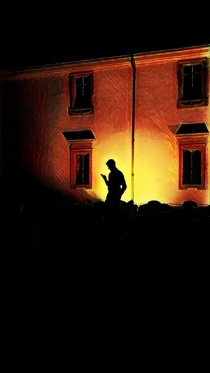 Shadows. Silhouette One Person People Adult Touching Smartphone Nightlife One Man Only Peter Pan Shadow Shadows & Lights