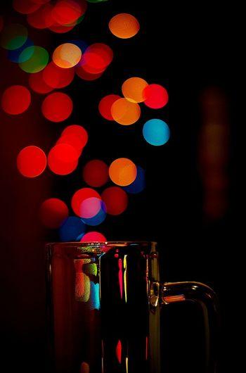 Defocused Lights Falling On Beer Glass