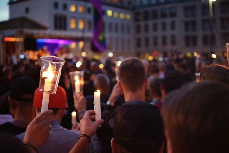 We stand with Orlando. Orlando Vigil Large Group Of People Crowd Illuminated Night Celebration Event Nightlife Cultures Berlin Lgbt Lgbt Pride Showcase June Music Brings Us Together People And Places TakeoverMusic EyeEm Diversity The Street Photographer The Street Photographer - 2017 EyeEm Awards