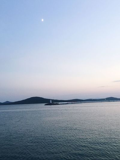 Cunda Clear Sky Moon Sea Blue First Eyeem Photo