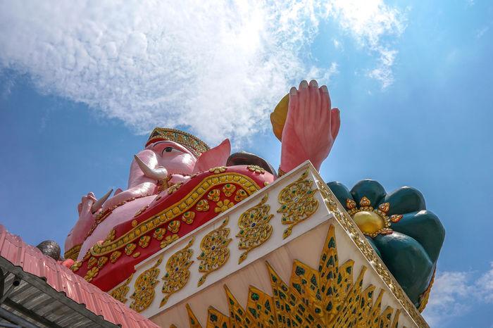 Ganesha Beauty Multi Colored Gold Statue Religion Gold Colored Sky