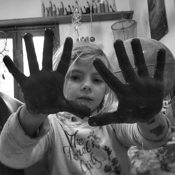 Girl with messy hands Girl Child Hands Finger Painting Messy Blackandwhite Natural Playing Paint