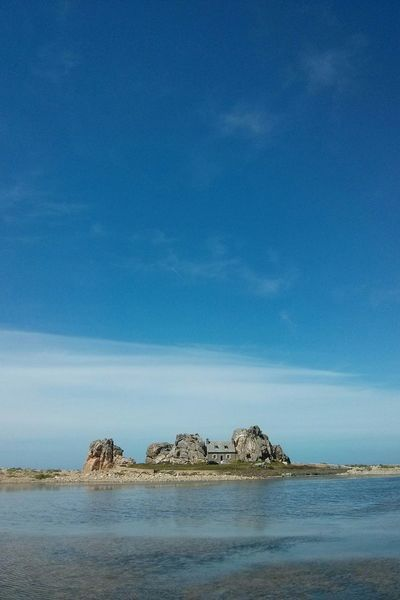 House between rocks. Bretagne Plougrescant Sea Sky