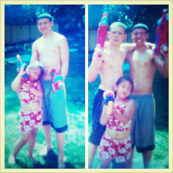 Throw back me my cousin and bro
