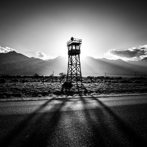 Architecture Black & White Black And White Photography Blackandwhite Blackandwhite Photography Blackandwhitephotography Blacknwhite Built Structure California Sunset Direction Guidance Mountain Mountain Range Northern California Outdoors Remote Scenics Shadow Sun Beam Sun Rays Sunset Tall - High Tranquil Scene Watchtower