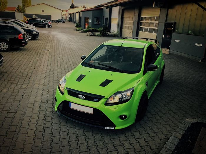 Ford Focus RS Nice Beastmode Green Color Focus Ford Rs Car Transportation Land Vehicle Mode Of Transport Built Structure City Architecture No People Outdoors first eyeem photo