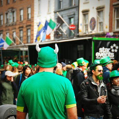 People In Leprechaun Costume On Street During St Patricks Day