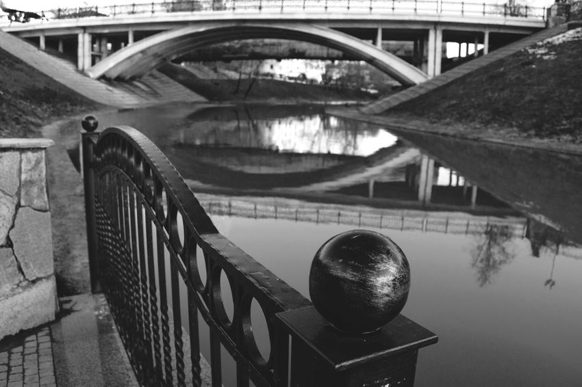 From My Point Of View By Ivan Maximov Eyeem Photo The Week On EyeEm Black And White Monochrome Cityscape Landscape Belarus City Vitebsk,Belarus Great Outdoors Bridge Traveling Composition Perspective Travel Destinations River Reflection River Metal Construction Bridge Reflection Bridge - Man Made Structure Railing Architecture Built Structure Indoors  No People Day Water