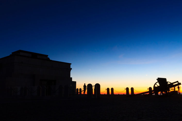Cannon silhouette at twilight, Monte Grappa war memorial, Italy Sky Sunset Silhouette Nature Copy Space Outdoors Cannon Silhouette Dusk Twilight Twilight Sky War Memorial Sunset_collection Monte Grappa Italy Italia Italian Landscape Landscape_Collection Landscape_photography Landmark Landmark Building World War Memorial