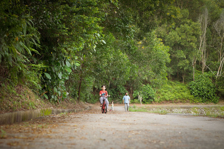 Girl riding bicycle on road against trees in park