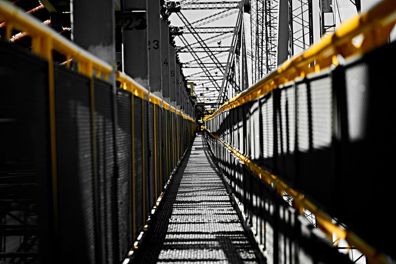 The high way up ... Black And White Blackandwhite Blackandwhite Photography Capture The Moment Coal Eye4photography  EyeEm Best Shots F60 Germany Giant Grey Industrial Industry No People One Color Railing Shadow Shadows & Lights Sigma 60mm Art Sony Sony A6000 Spreewald Suspension Bridge Way Yellow