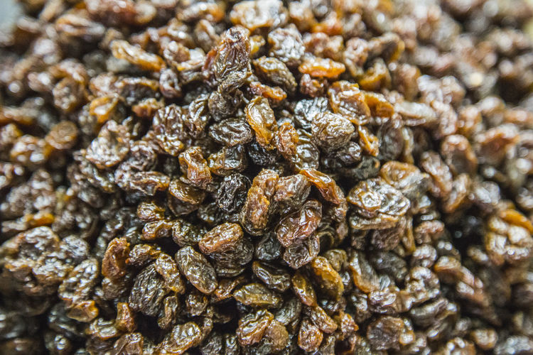 Full frame shot of raisins for sale at market stall