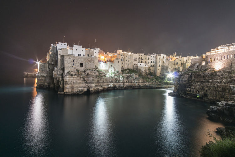 Architecture Building Exterior Built Structure Water Building Nature Illuminated City History Sea Reflection The Past Sky No People Travel Destinations Waterfront Night Old Polignano A Mare Polignano Puglia