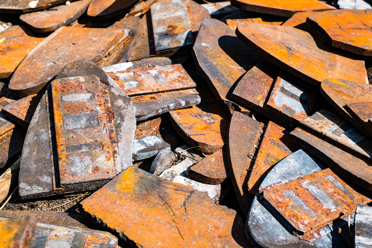 train brake pads Train Brake Pads Backgrounds Full Frame Rusty No People Metal Close-up Large Group Of Objects Textured  Orange Color Old Abundance Day High Angle View Obsolete Nature Outdoors Abandoned Run-down Weathered Still Life