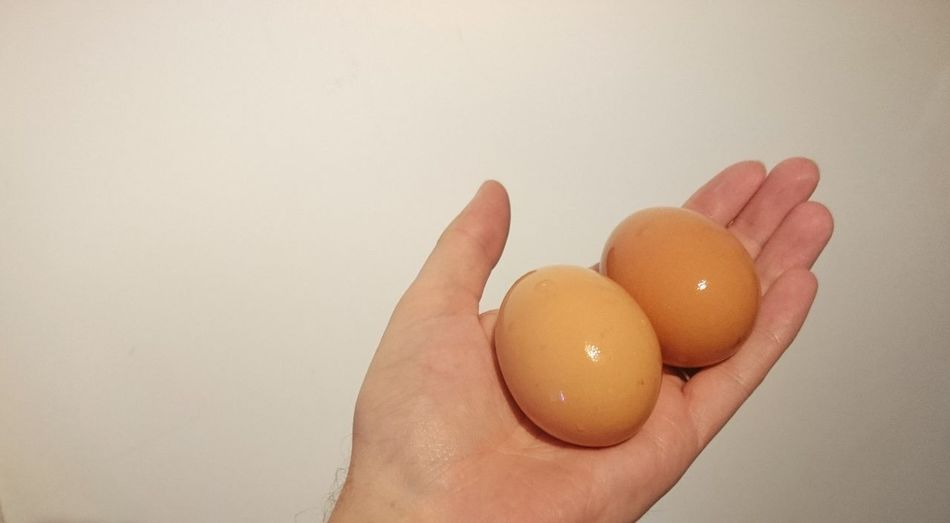 Cropped Image Of Hand Holding Eggs Against Beige Wall