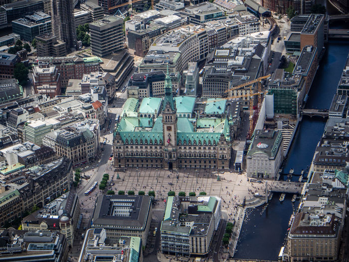 Aerial view of hamburg town hall by alster river