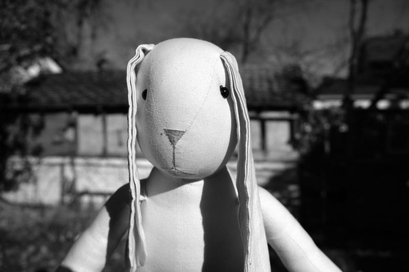 Stuffed Toy Abuse Anthropomorphic Face Black And White Bunny  Childhood Ears Focus On Foreground Imaginary Imaginary Friend Portrait Rabbit Scarecrow Single Social Issues Toy EyeEmNewHere EyeEmNewHere Black And White Friday