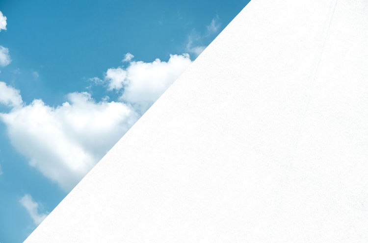 Blue Sky & White Wall Architecture Backgrounds Building Exterior Built Structure Close-up Cloud - Sky Day Low Angle View Nature No People Outdoors Sky White Color Whitewashed