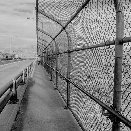 At the end of bridge Fence Bridge Dam People Repeating Patterns Patern Pattern Pieces Blackandwhite Fatherandsonmoments Page Arizona United States