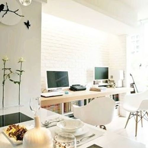 Happy Monday all! Its back to work & this space shows just how a live/work space can be one if done right. Smallspace Twoworldscollide Work Live Whitewalls  Home Interior Design Texture image via Pinterest