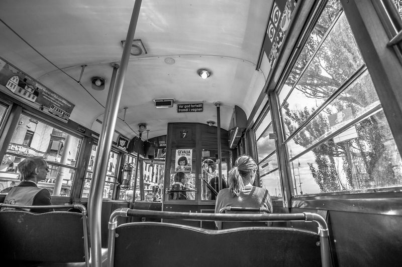 Embrace Urban Life Transportation Real People Public Transportation Lifestyles Mode Of Transport Men Leisure Activity Vehicle Interior Land Vehicle Women Day Outdoors Adult People Sweden Stockholm Blackandwhite Canon