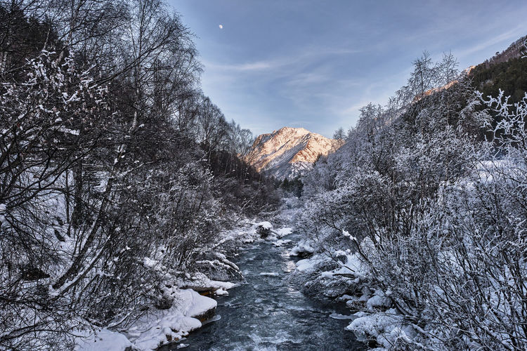 Winter landscape. mountain river running in a snow-covered forest on sunset. elbrus region, russia.