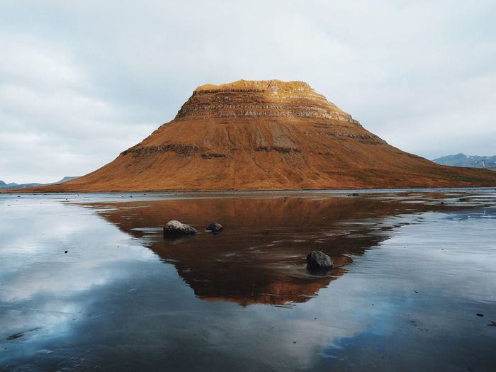 The one and only Kirkjufell Nature Scenics Water Sky Tranquil Scene Beauty In Nature Reflection Outdoors Landscape Lake Mountain Tranquility in Iceland Autumn Colors My Year My View Finding New Frontiers Miles Away The Great Outdoors - 2017 EyeEm Awards Been There.