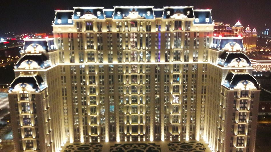 Parisian Macau Night Building Exterior Illuminated Poker Life Macau CotaiStripMacau Cotai