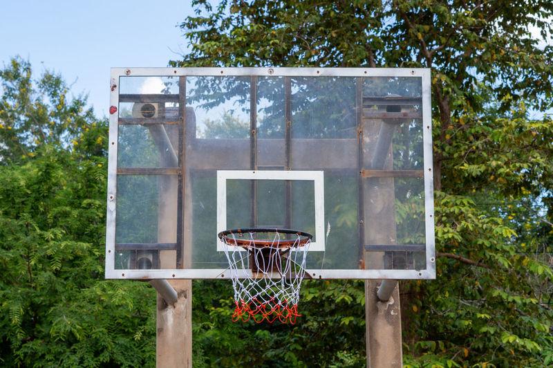 View of basketball hoop against trees