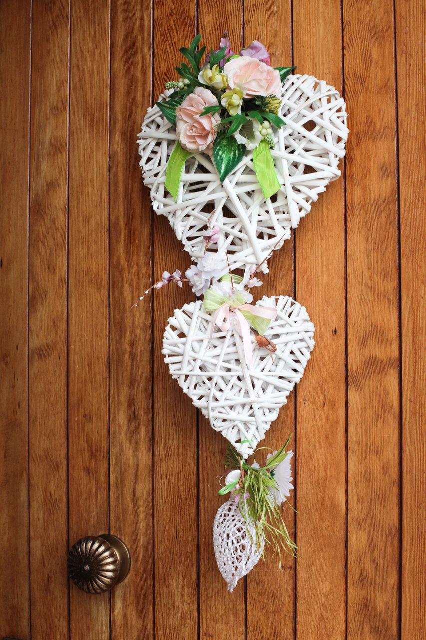 Heart Shape Decoration On Wooden Door