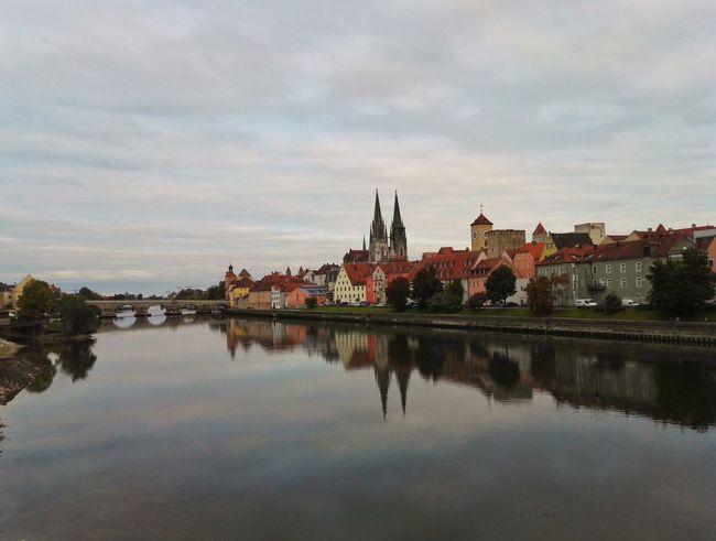Water Reflection River Danube Donau River View Regensburg Germany Deutschland