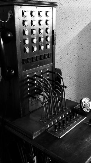 An extraordinary piece of phone history Wood Wooden Wood - Material Telephone History Telephone Telephone Line History Oud-Krimpen Netherlands Dutch Machine Beatiful Old Old School Blackandwhite Metal Buttons Levers Wires Dial Past Close-up Control Panel