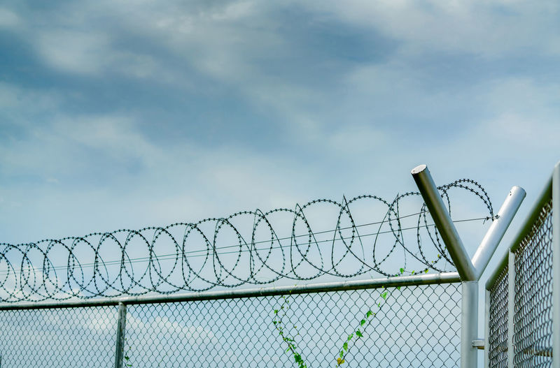 Prison security fence. barbed wire security fence. razor wire jail fence. barrier border. boundary.