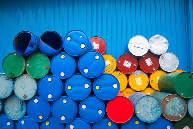 Chemical Plant, Plastic Storage Drums, Blue Barrels,Oil tank Blue Close-up Day Large Group Of Objects Multi Colored No People Outdoors Tool