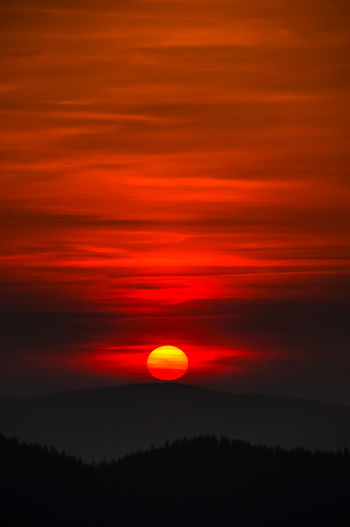 Astronomy Beauty In Nature Cloud - Sky Dramatic Sky Eclipse Idyllic Majestic Nature No People Non-urban Scene Orange Color Outdoors Red Romantic Sky Scenics - Nature Silhouette Sky Space Sun Sunset Tranquil Scene Tranquility Tree