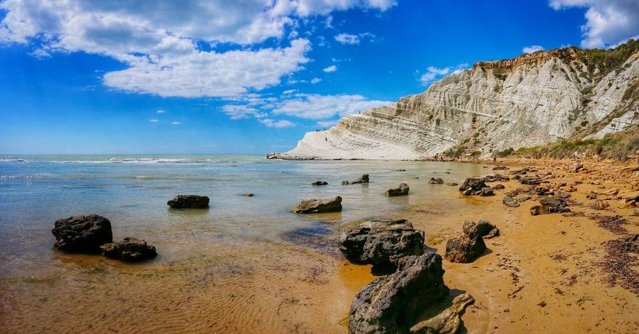 Showcase April Scala Dei Turchi Agrigento Sicily Italy Travel Photography Travel Voyage Traveling Mobile Photography Fine Art Panoramic Views Landscapes With WhiteWall Nature Sea Rocks Shoreline Cliffs Sky Clouds Reflections And Shadows Mobile Editing The KIOMI Collection Blue Wave