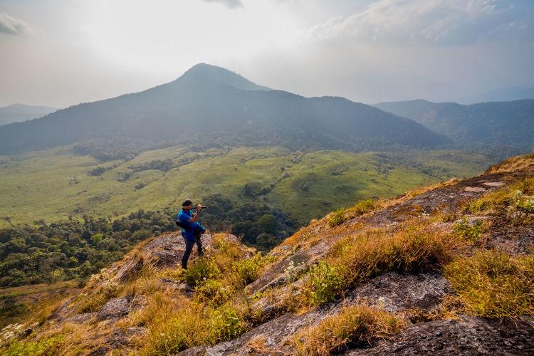 High angle view of man on mountain