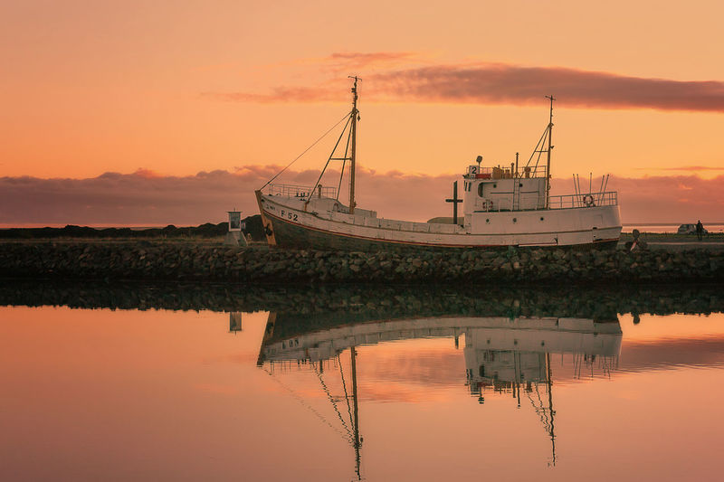 Hofn Harbour Harbor Harbour Höfn Iceland Reflection Boat Nautical Vessel Orange Color Stranded Sunset Water