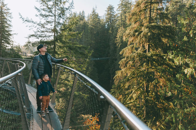 A father and son exploring the Pacific Northwest. Forest Trees Nature Beautiful West Coast Pacific Northwest  Man Child Father Son Exploring Adventure Travel Boy Standing Leisure Activity Real People Lifestyles