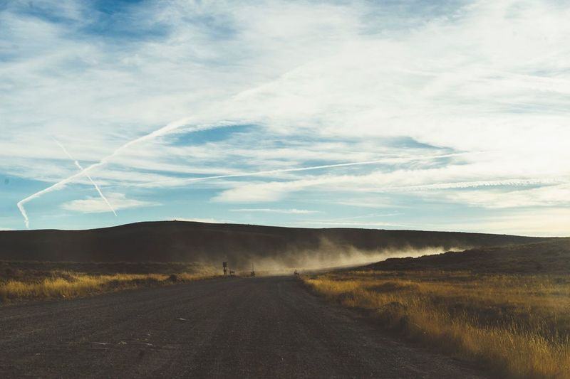 Landscape Road Nature Sky Scenics No People The Way Forward Tranquility Day Outdoors Tranquil Scene Beauty In Nature Mountain Vapor Trail Speed Rural Scene Rural Poetry Tranquility Driving On The Road