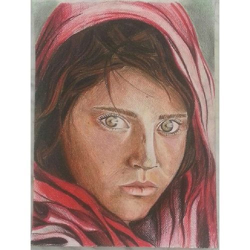 Drawing Colors Portrait The Afghan Girl Sharbat Gula National Geographic Water Color Pencils Art Shading  Drawings