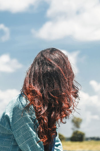 Fire Sky Hair Cloud - Sky Hairstyle Long Hair Women Portrait Casual Clothing Headshot Adult Outdoors Wind Rear View Real People Day The Creative - 2019 EyeEm Awards The Portraitist - 2019 EyeEm Awards