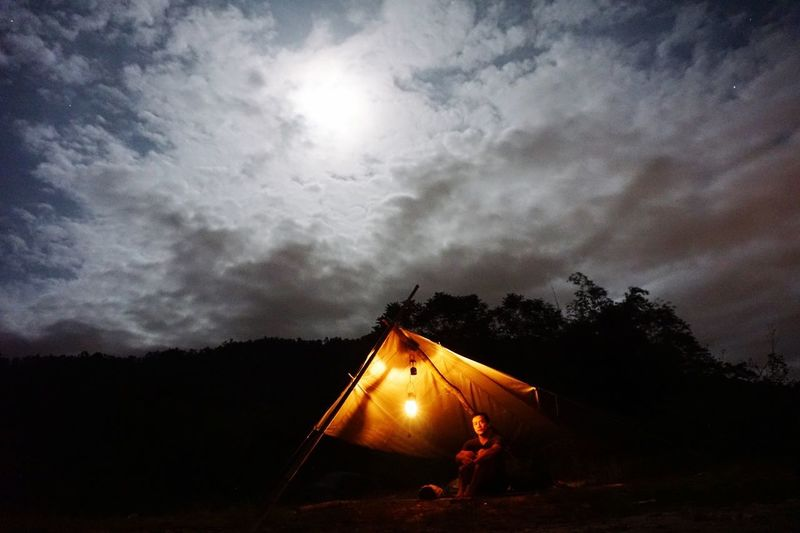 Open tent Sky Cloud - Sky Nature Tent No People Tree Night Illuminated Architecture Built Structure Low Angle View Beauty In Nature Glowing Dusk Outdoors Scenics - Nature Silhouette Bright