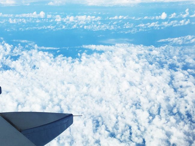 Airplane Cloud - Sky Sky Cloudscape Air Vehicle Aerial View Flying Nature Airplane Wing Transportation White Journey Beauty In Nature Blue Travel Scenics Tranquility Day No People Tranquil Scene